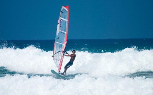 Windsurfing off Cabarate beach.